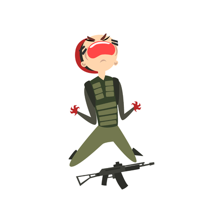 Screaming military man with hands in blood, soldier character in camouflage uniform and red beret cartoon vector Illustration isolated on a white background. Иллюстрация