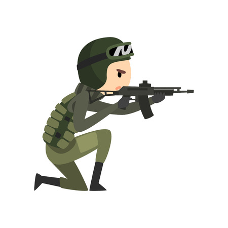 Military man shooting a gun, soldier character in camouflage uniform, cartoon vector Illustration isolated on a white background.