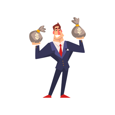 Rich successful businessman character with money bags cartoon vector Illustration isolated on a white background.