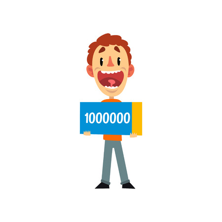Happy man holding check for one million dollars, guy winning the lottery vector Illustration isolated on a white background.