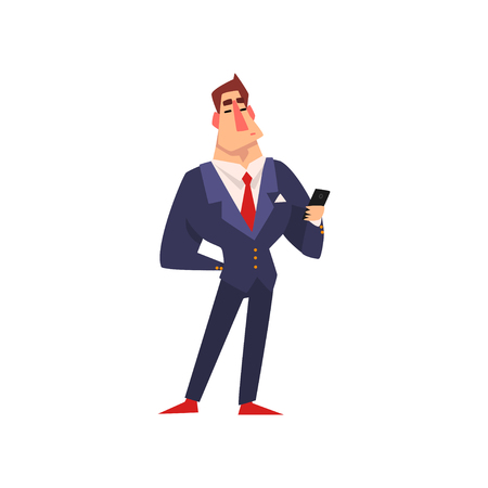 Self confident businessman character in blue suit with smartphone cartoon vector Illustration isolated on a white background.