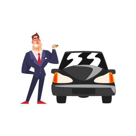Successful businessman character in a blue suit standing next to a luxury car cartoon vector Illustration isolated on a white background.