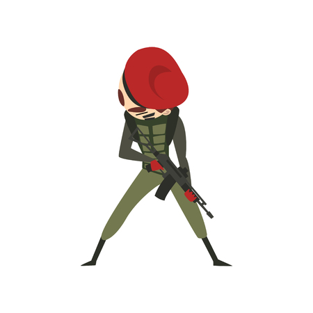 Military man with rifle, soldier character in combat uniform and red beret cartoon vector Illustration isolated on a white background. Stock Vector - 112165807