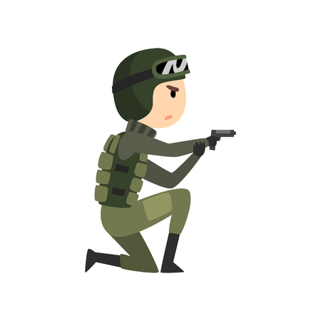 Military man with gun, soldier character in camouflage combat uniform cartoon vector Illustration isolated on a white background.