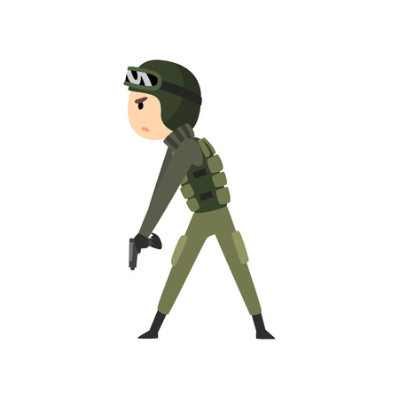 Military man ready to fight, soldier character in camouflage uniform cartoon vector Illustration isolated on a white background.