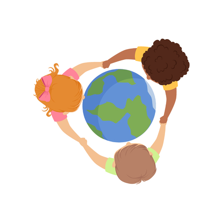 Cute little kids holding hands around the globe, top view vector Illustration isolated on a white background.