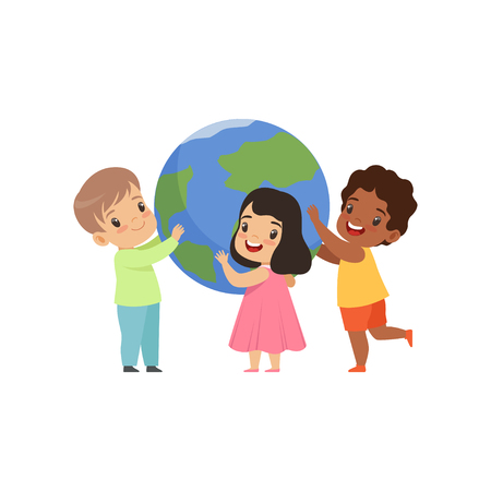 Cute multicultural little kids standing around the Earth globe and holding it vector Illustration isolated on a white background.