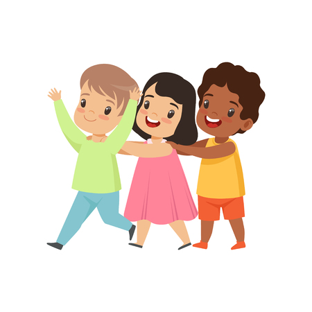 Multicultural little kids having fun together, friendship, unity concept vector Illustration isolated on a white background.