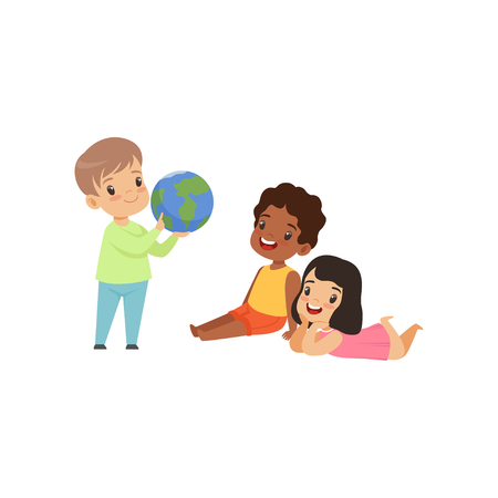 Cute little boy holding and showing a globe to kids who sitting on the floor vector Illustration isolated on a white background.