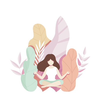 Girl meditating on the natural background with big leaves, faceless young woman in beautiful nature vector Illustration in flat style