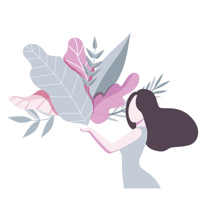 Beautiful brunette girl holding a bouquet of leaves, romantic faceless young woman vector Illustration isolated on a white background.