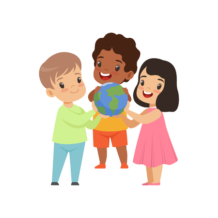 Cute smiling multicultural little kids holding globe vector Illustration isolated on a white background.