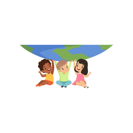 Cute multicultural little kids sitting under the globe and holding it vector Illustration isolated on a white background.