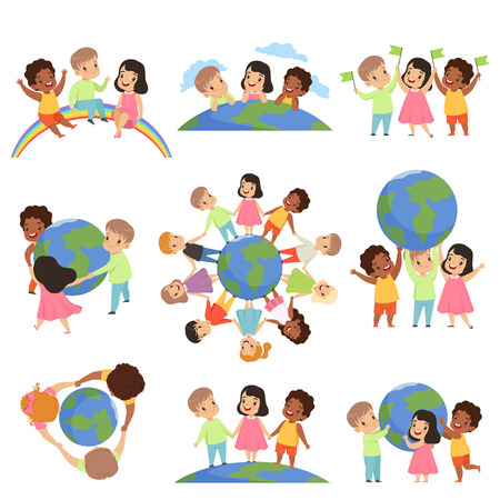 Collection of multicultural little kids holding Earth globe together, friendship, unity concept vector Illustration isolated on a white background. Ilustração