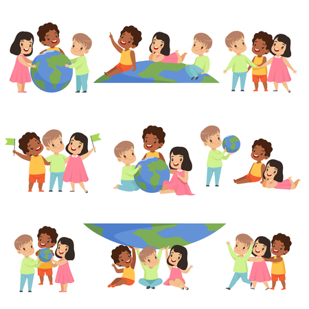 Collection of happy multicultural little kids standing together, friendship, unity concept vector Illustration isolated on a white background.