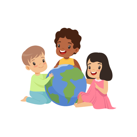Happy multicultural little kids sitting around the globe together, friendship, unity concept vector Illustration isolated on a white background. 일러스트