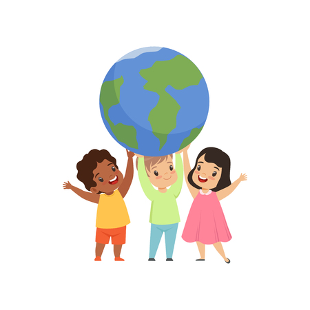 Cute multicultural little kids standing under the Earth globe and holding it, friendship, unity concept vector Illustration isolated on a white background. Illusztráció