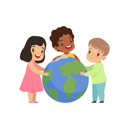 Happy multicultural little kids sitting around the globe together, friendship, unity concept vector Illustration isolated on a white background.