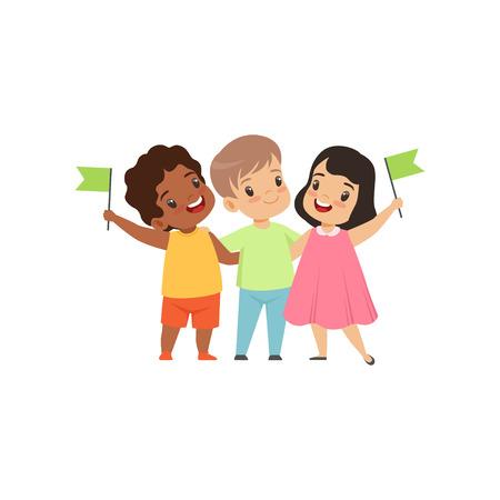 Petits enfants multiculturels debout avec des drapeaux ensemble, amitié, vecteur de concept d'unité Illustration isolé sur fond blanc.