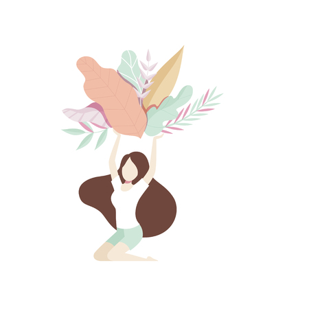 Romantic girl holding a bouquet of leaves above her head, faceless young woman in beautiful nature vector Illustration isolated on a white background.