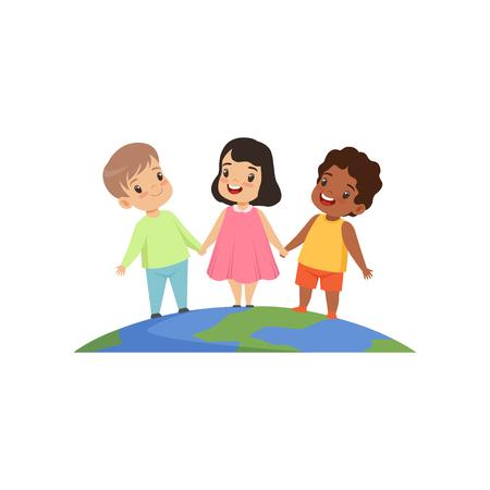 Kleine Kinder verschiedener Nationalitäten stehen und halten sich an den Händen auf der Erdkugel-Vektor-Illustration isoliert auf weißem Hintergrund.