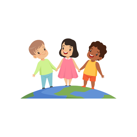 Little kids of different nationalities standing and holding hands on the earth globe vector Illustration isolated on a white background.