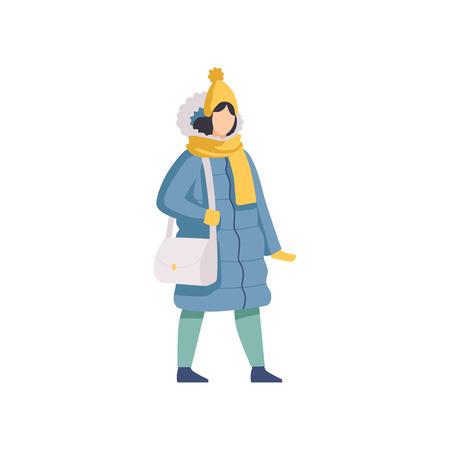 Fille qui marche portant des vêtements d'hiver vector Illustration isolé sur fond blanc.