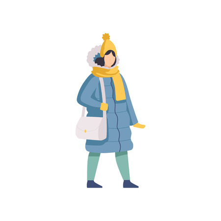 Girl walking wearing winter clothes vector Illustration isolated on a white background.