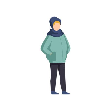 Boy wearing winter clothes vector Illustration isolated on a white background.