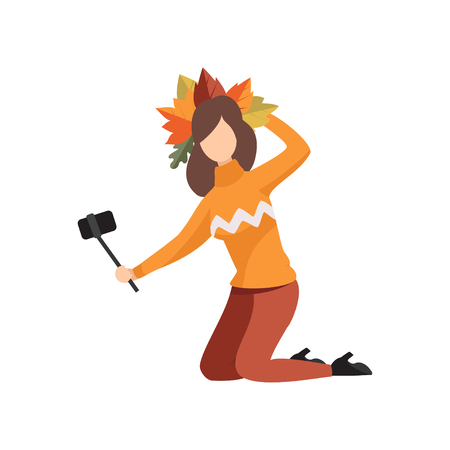 Girl making selfie in a wreath of autumn leaves vector Illustration isolated on a white background.