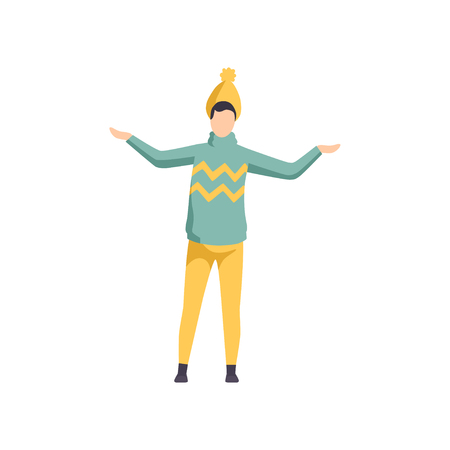 Young man wearing a knitted sweater and hat, guy in autumn outwear casual clothes vector Illustration isolated on a white background.
