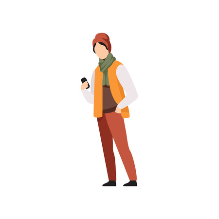 Young man standing with mobile phone in autumn outwear casual clothes vector Illustration isolated on a white background.