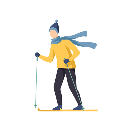 Young man skiing, winter time activities vector Illustration isolated on a white background.