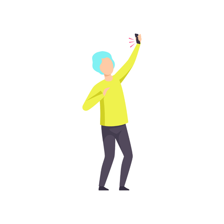 Young man dancing with smartphone, having fun at nightclub vector Illustration isolated on a white background.