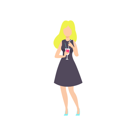 Beautiful blonde girl drinking cocktail at party, young woman having fun at nightclub vector Illustration isolated on a white background. Illustration