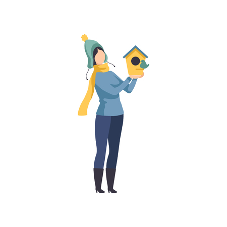 Woman holding a birdhouse, girl taking care of the birds in winter rime vector Illustration isolated on a white background.
