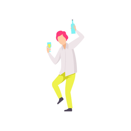Guy dancing and drinking beer at party, young man having fun at nightclub vector Illustration isolated on a white background.