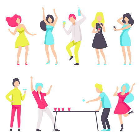 People in fashionable clothes resting and drinking cocktails at the nightclub vector Illustration isolated on a white background.