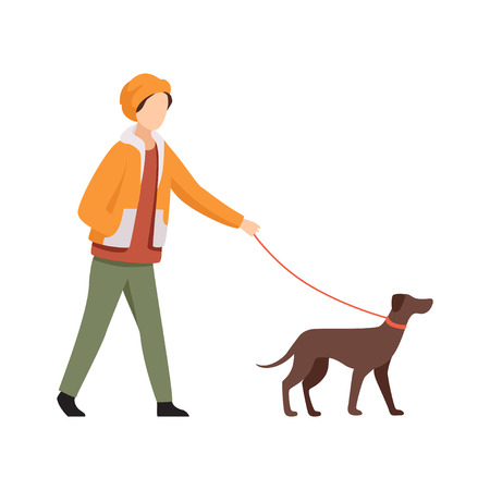 Young man walking with dog in autumn casual clothes vector Illustration isolated on a white background.