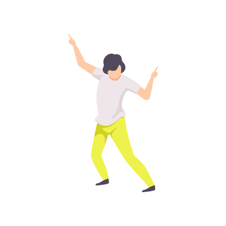 Guy dancing at party, young man having fun at nightclub vector Illustration isolated on a white background. Ilustrace