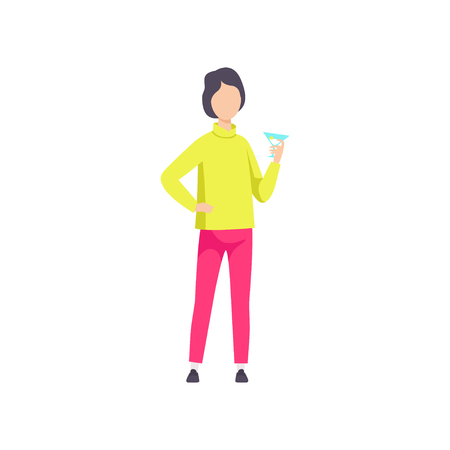 Guy in fashionable clothes drinking cocktail, young man having fun at party or nightclub vector Illustration isolated on a white background.
