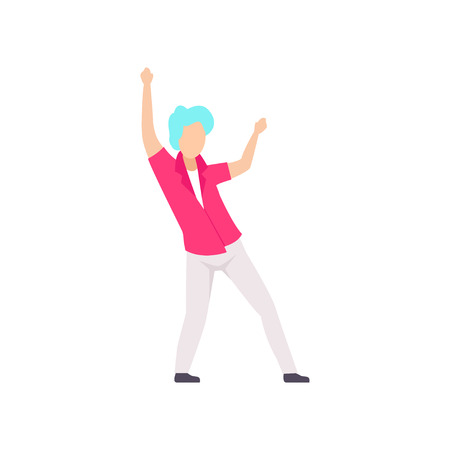Guy in fashionable clothes dancing at party, young man having fun at nightclub vector Illustration isolated on a white background.