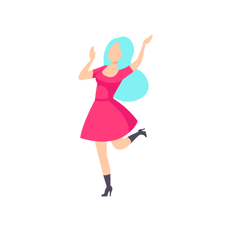 Fashionable girl in pink dress dancing at foam party, young woman having fun at nightclub vector Illustration isolated on a white background.