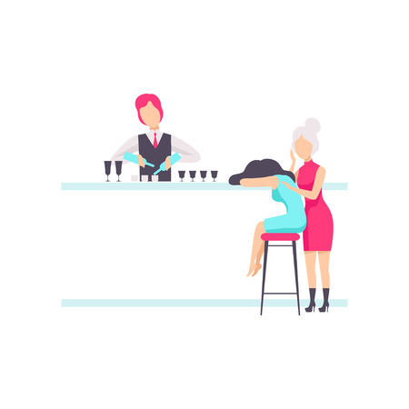 Bartender standing at the bar counter mixing cocktails, drunk girls sitting at the bar or nightclub vector Illustration isolated on a white background.