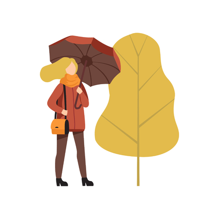 Young woman walking with umbrella in autumn outwear casual clothes vector Illustration isolated on a white background. Ilustração