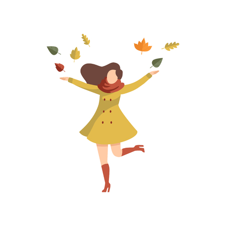 Young woman throwing leaves up wearing autumn casual clothes vector Illustration isolated on a white background. Stock Illustratie