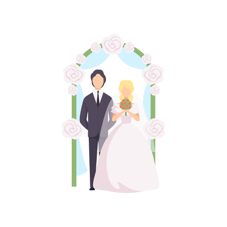 Bride and groom standing near the wedding arch at ceremony vector Illustration isolated on a white background. Illustration