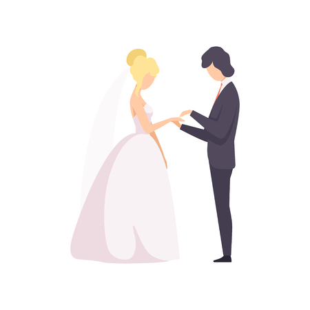 Elegant groom putting the ring on brides finger at wedding ceremony vector Illustration isolated on a white background.