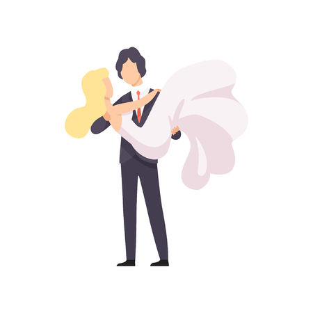Elegant groom holding his beautiful bride in his arms, romantic couple of newleads at wedding ceremony vector Illustration on a white background 向量圖像