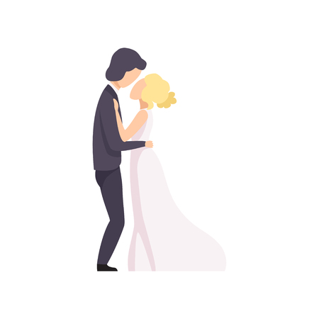 Beautiful elegant wedding love couple embracing looking at each other, wedding ceremony vector Illustration on a white background